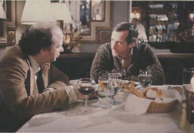 """Escena de """"My Dinner with Andre"""". Sustituyan al director teatral por una pareja de pornógrafos y se asemeja mucho a mi comida con Anna y Hank."""